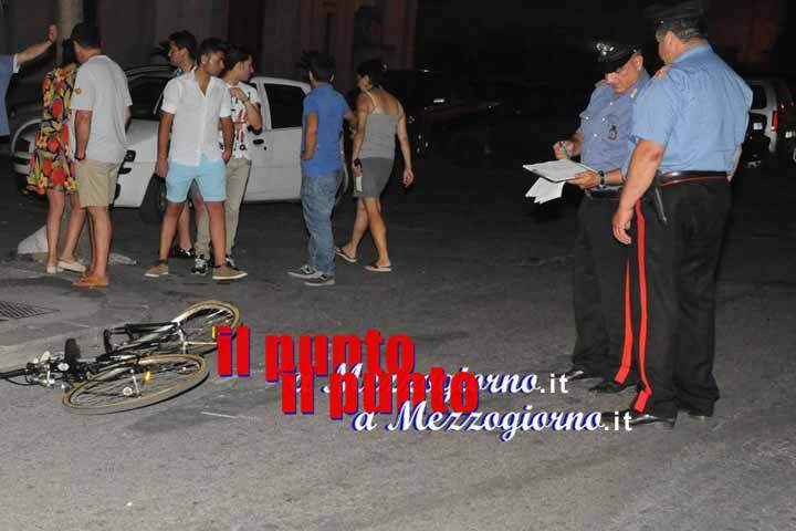 Ciclista travolto da auto in piazza Corte a Cassino