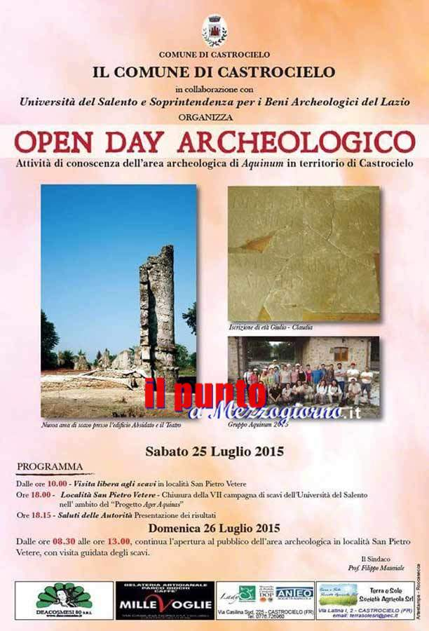 Sabato 25 e domenica 26 open day archelogico all'area di Aquinum