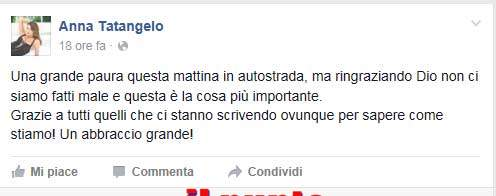 Anna Tatangelo rassicura i fan su Facebook dopo l'incidente