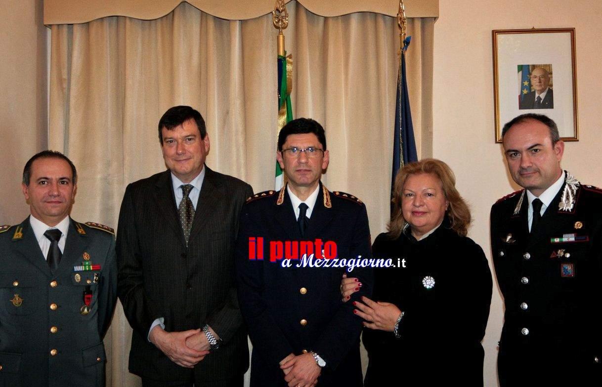 Il Prefetto di Frosinone saluta il Comandante della Polizia Stradale Giovanni Consoli