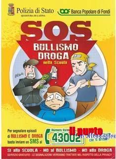 """Polizia di Stato di Latina: Via al progetto """"S.O.S. Bullismo Droga nella scuola"""""""