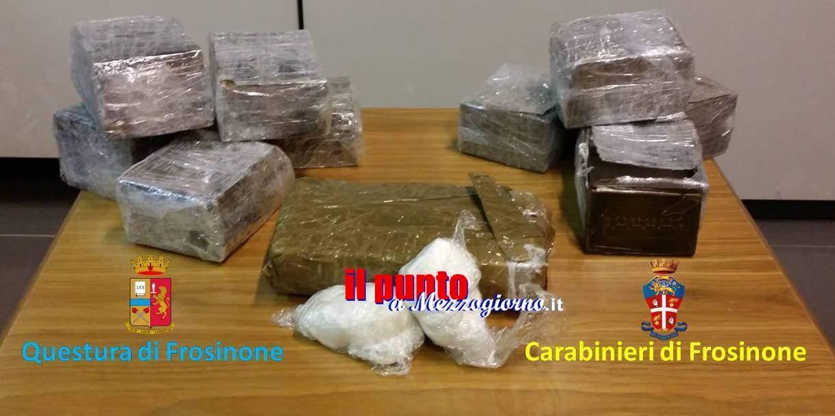 La droga nel bosco, dieci chili tra hashish e cocaina nascosti in una grondaia a Morolo