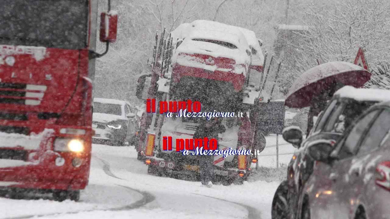 Grande freddo, prefettura di Frosinone: riaperta circolazione ai mezzi pesanti, ma allerta resta alta