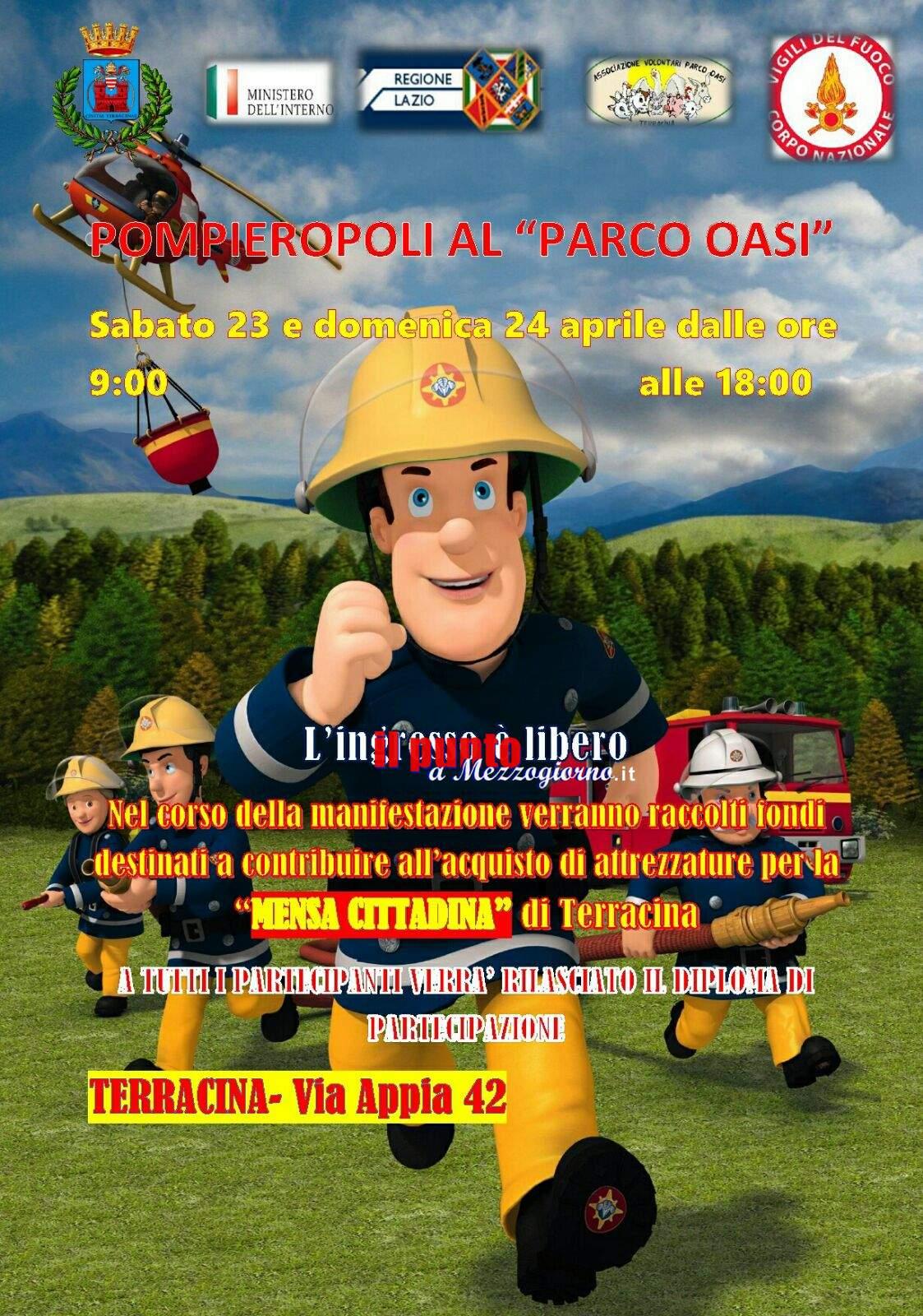 Pompieropoli arriva a Terracina. Esercitazione dei vigili del fuoco con i bambini