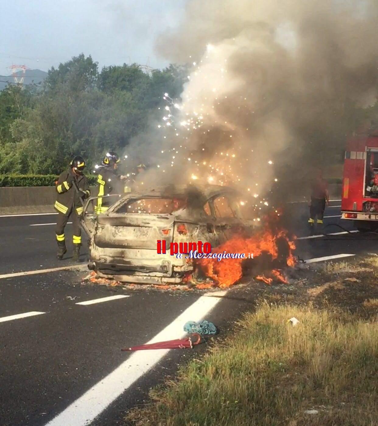 Auto in fiamme sull'A1 a Ceprano, imprenditore salvo per miracolo