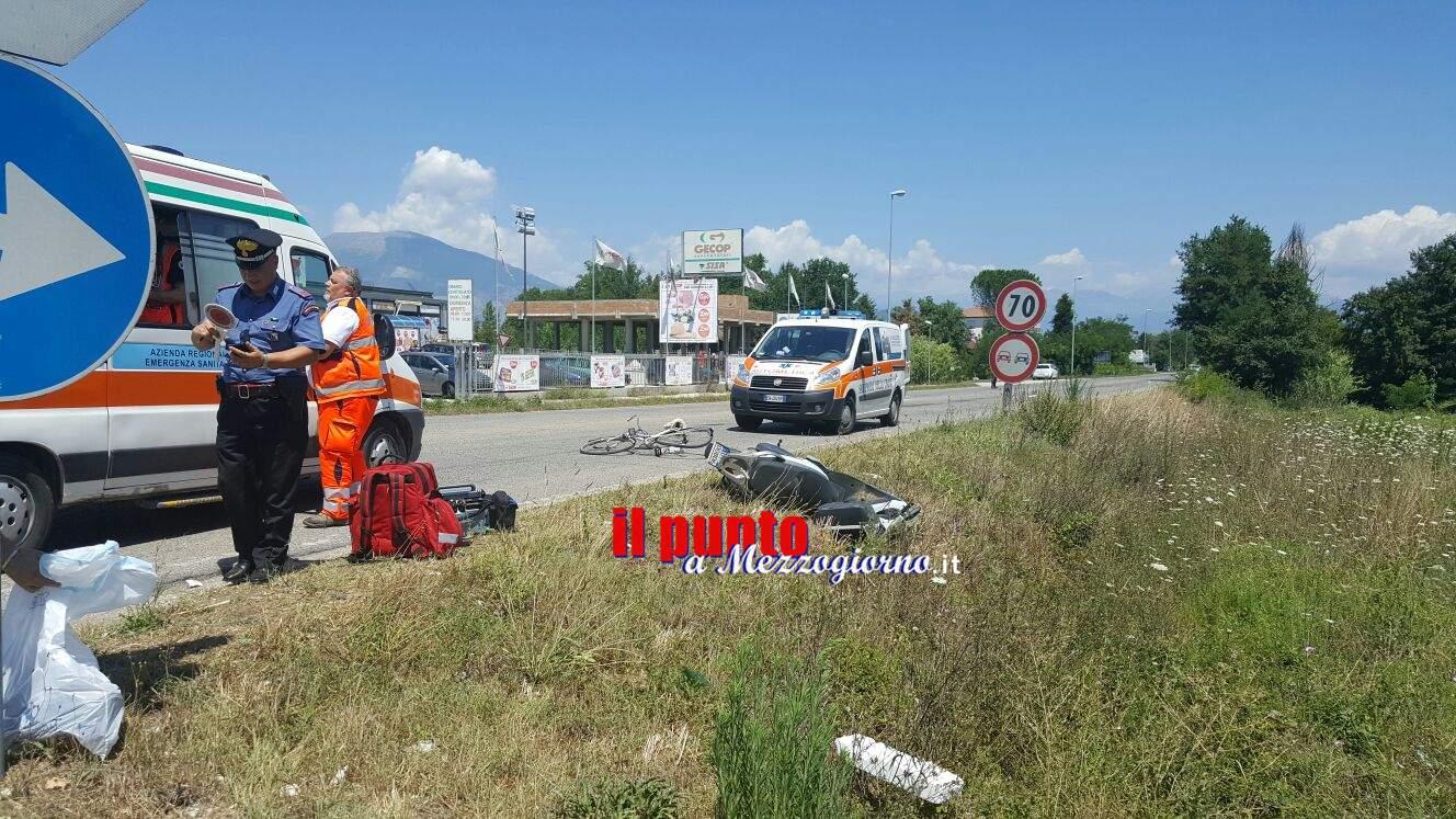 Incidente tra uno scooter ed una bici a San Giorgio a Liri. Due feriti, uno elitrasportato in gravi condizioni