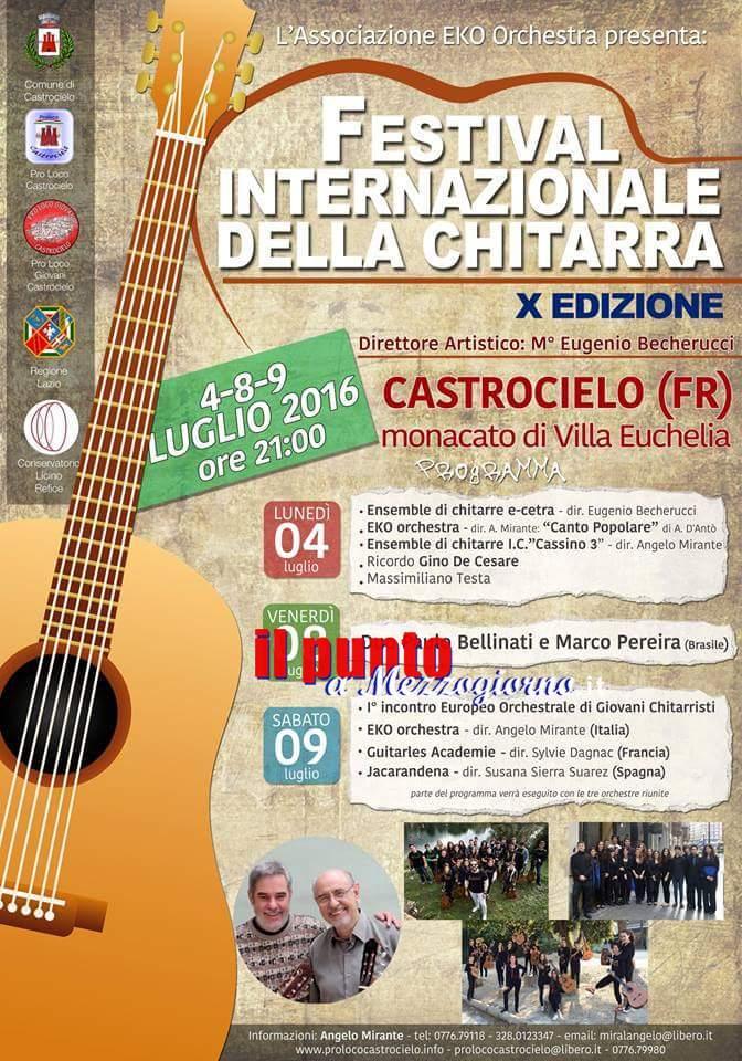 Festival internazionale della chitarra a Castrocielo.  Si alza il sipario sulla decima edizione della prestigiosa manifestazione