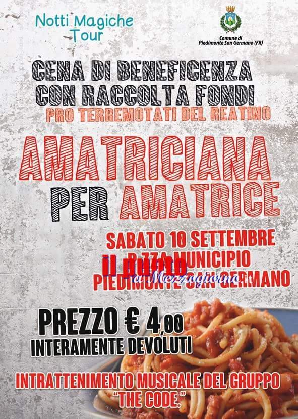 Amatriciana per Amatrice. Sabato 10 settembre tutti in piazza a Piedimonte San Germano