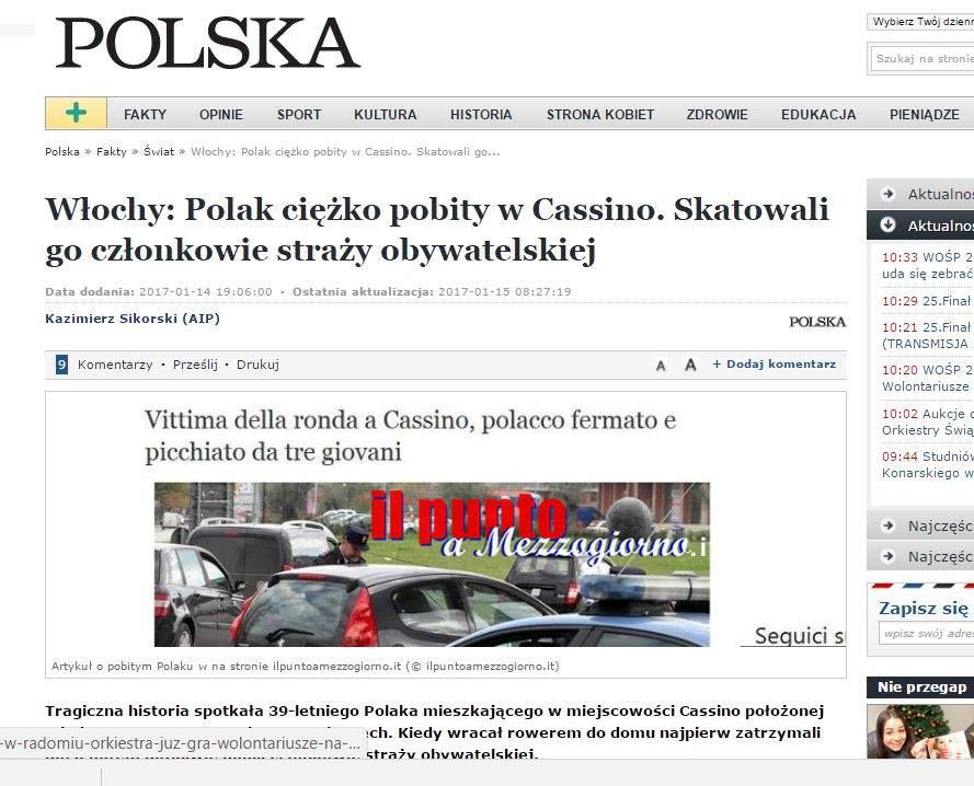 Vittima della ronda a Cassino, la vicenda sui media polacchi