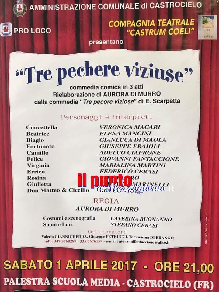 """Castrocielo- In scena la commedia """"Tre pechere viziuse"""" a cura della compagnia teatrale Castrum Coeli"""