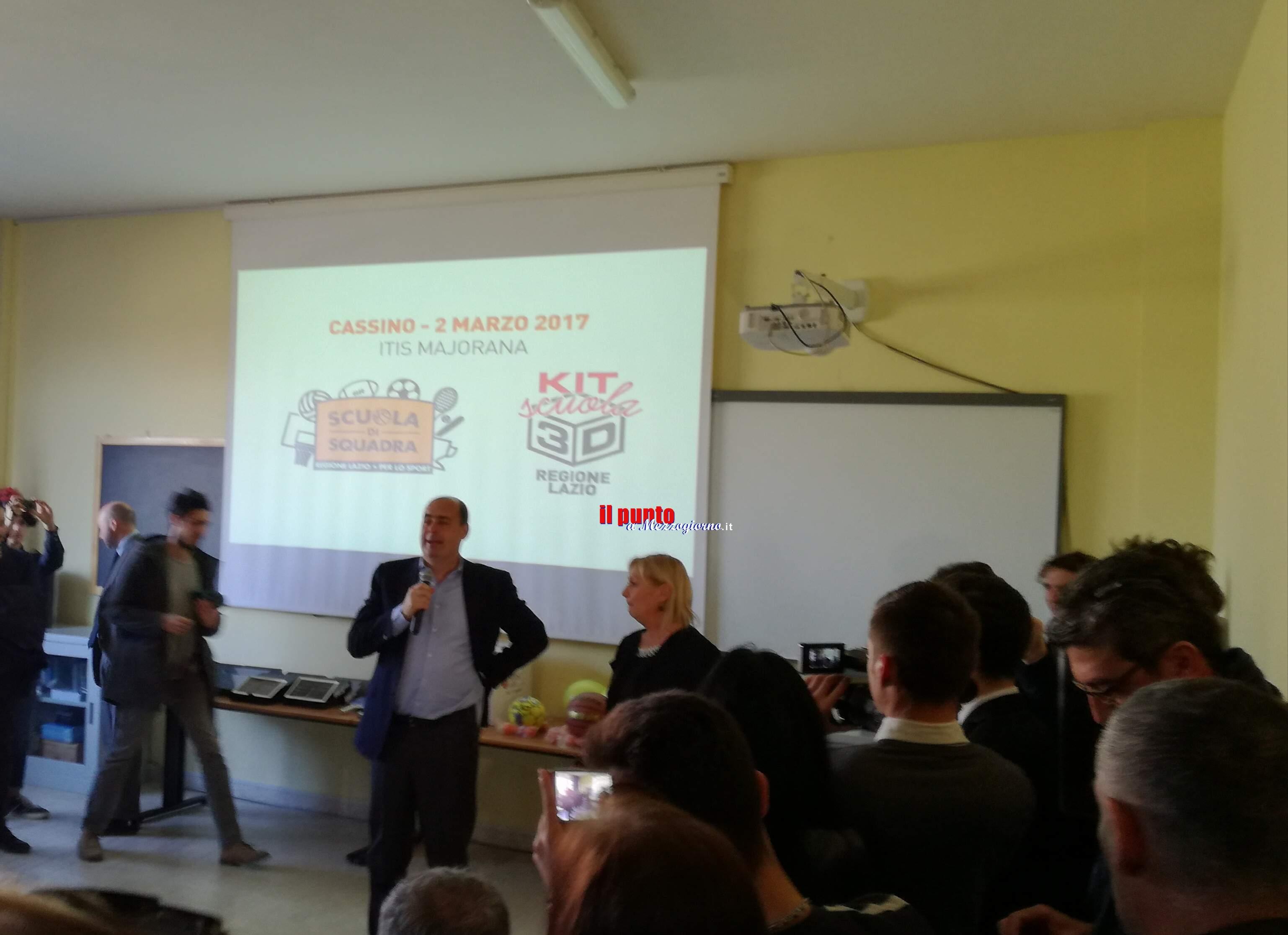 Cassino- Il presidente della Regione Lazio Zingaretti in visita all'Itis di Cassino
