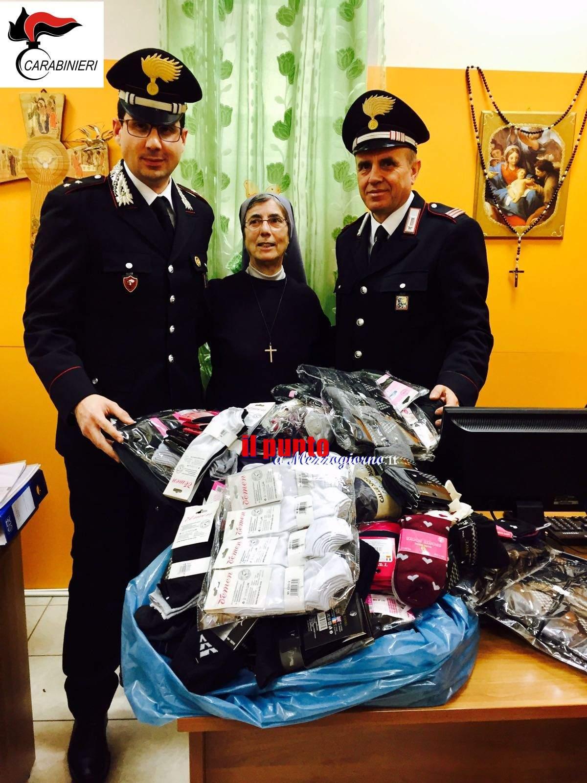 Cassino- 450 capi di biancheria donati alla Casa della Carità dai Carabinieri