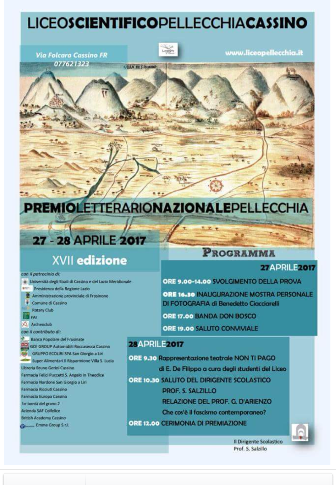 Cassino- Al via la XVII edizione del Premio Letterario Nazionale Pellecchia