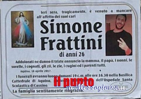 Tragedia di Aquino, domani i funerali di Simone Frattini