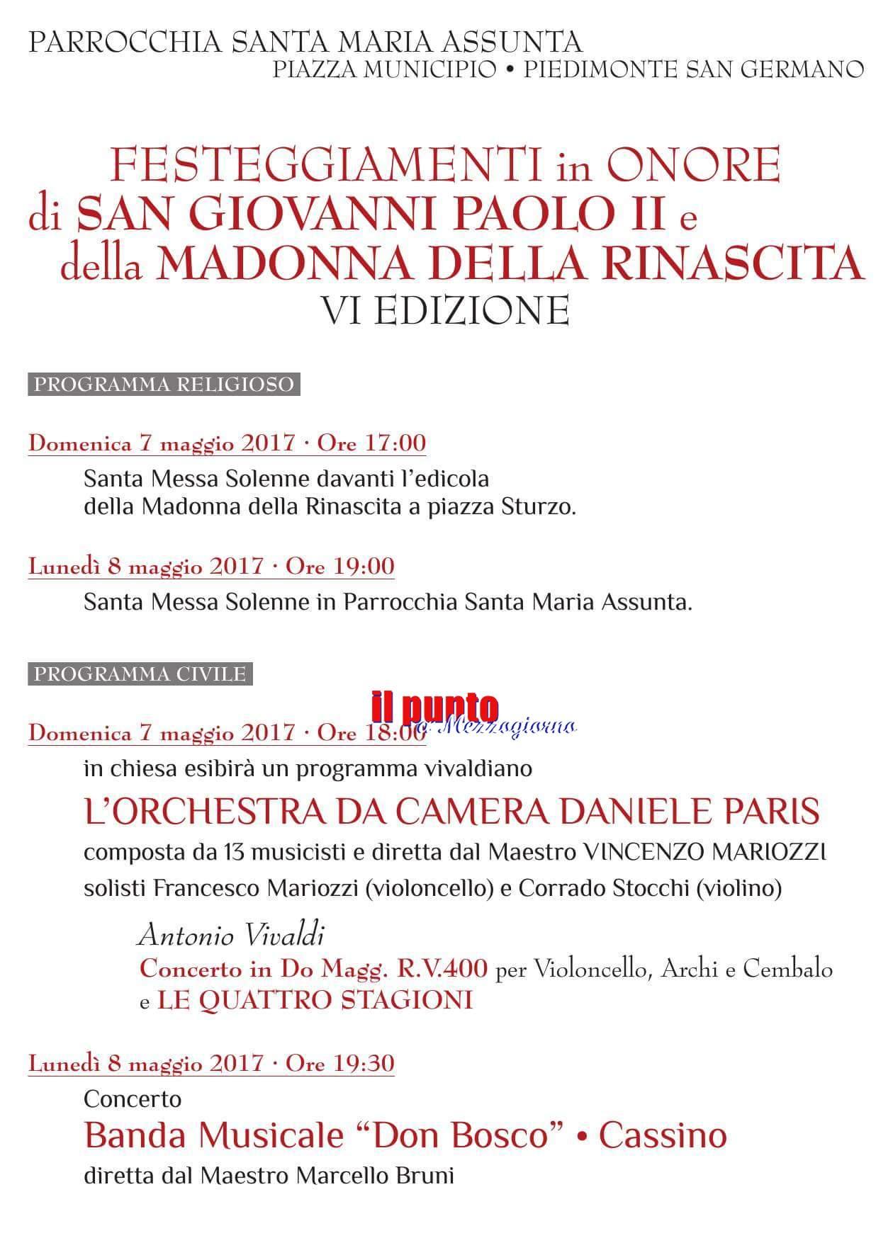Le Quattro Stagioni di Vivaldi per la festa della Madonna della Rinascita e di San Giovanni Paolo II a Piedimonte San Germano