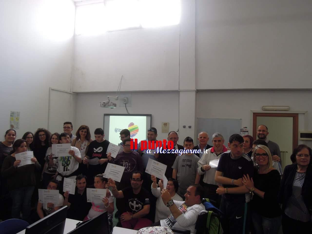 """Cassino- Concluso il """" Primo corso di alfabetizzazione informatica per ragazzi diversamente abili"""""""