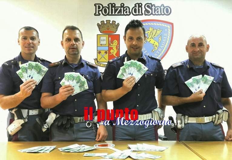 Soldi falsi sull'Autostrada a Cassino, arrestati due uomini campani