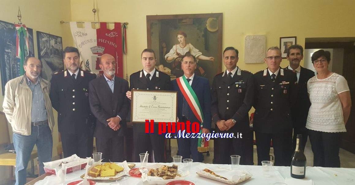 Picinisco- Attestato di Civica Benemerenza al Maresciallo capo dei carabinieri della locale stazione Fabio Santanastaso