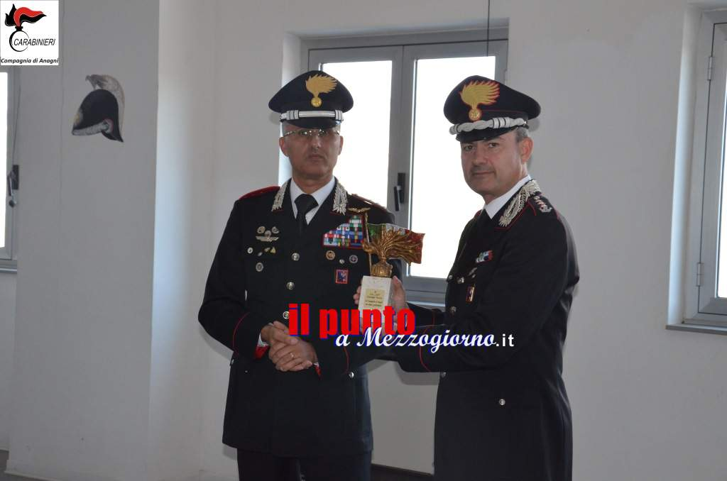 Il Colonnello Giuseppe Tuccio saluta il personale della Compagnia Carabinieri di Anagni
