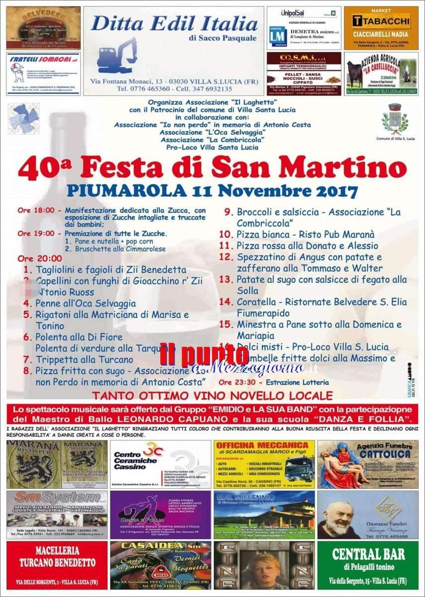 Piumarola in festa per i 40 anni della famosa sagra di San Martino. Degustazioni e prodotti tipici