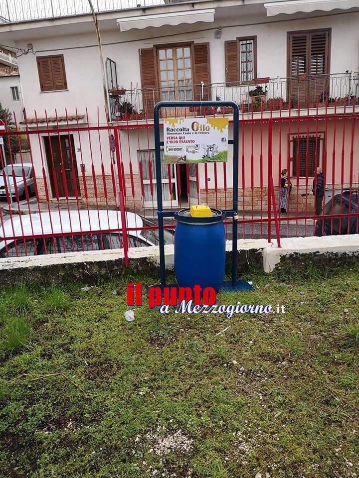 Bidoni per la raccolta di oli esausti da cucina nelle scuole di Cervaro e Porchio