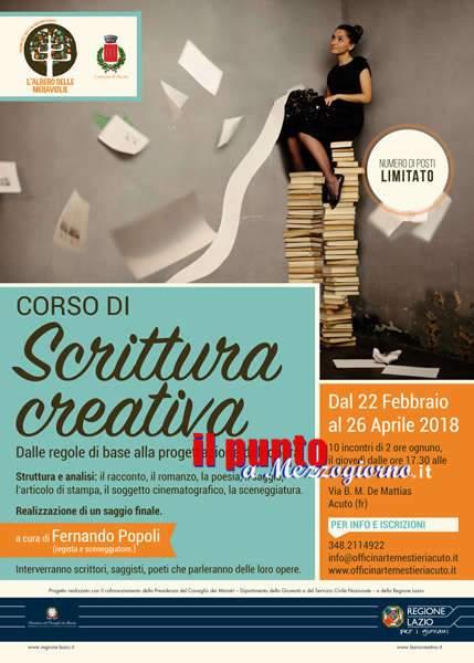 Scuola per romanzieri ad Acuto, al via corso di scrittura creativa