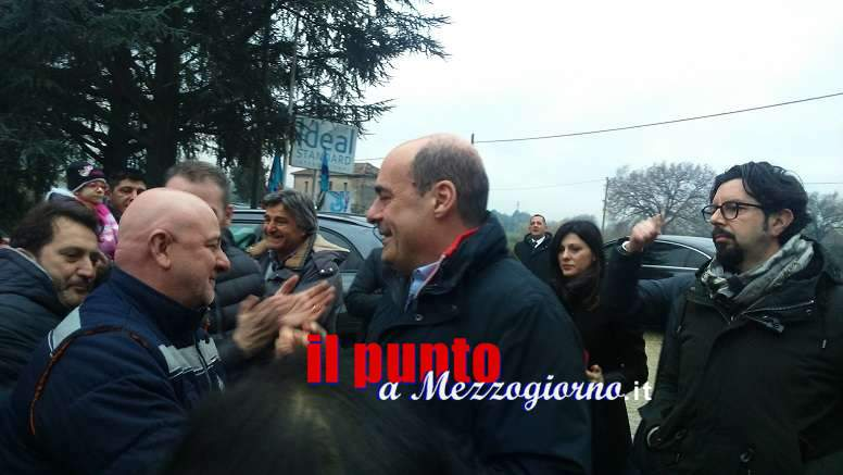 Dopo l'accordo con Saxa Gres, soddisfatti i lavoratori oggi pomeriggio Zingaretti in visita