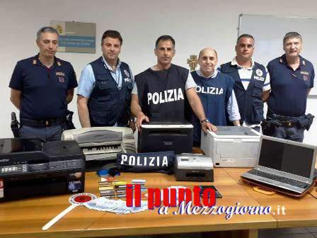 Stampavano banconote da 20 euro false, scoperta a Minturno stamperia clandestina