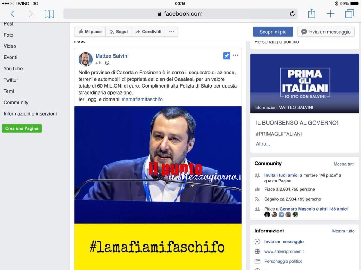 Sequestrati beni ai Casalesi per 60 milioni tra Caserta e Frosinone, lo dice Salvini su Facebook