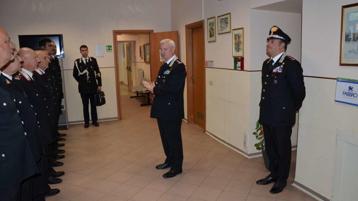 Il generale Ilio Ciceri in visita al comando provinciale di Frosinone