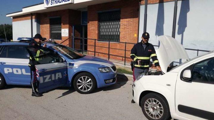 Fermato in A1 dalla Polstrada di Cassino un furgone con attrezzature da cantiere di dubbia provenienza