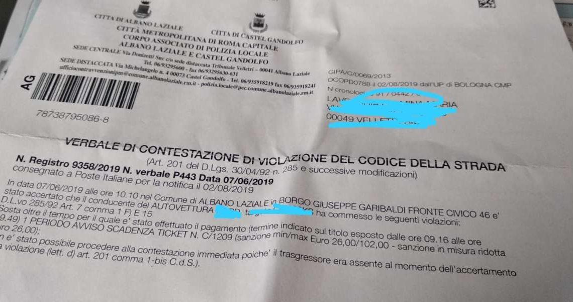 Parcheggio a pagamento ad Albano, multe salate senza preavviso se scade la sosta