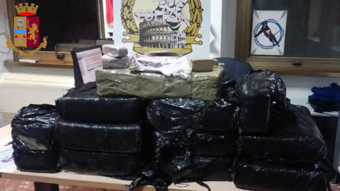 Maxi sequestro di hashish della Squadra Mobile romana, nascondeva in un box 110 chili
