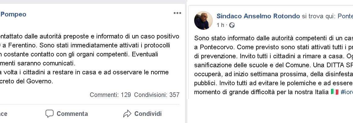 Coronavirus, un caso a Pontecorvo ed uno a Ferentino. Lo dicono i sindaci su Facebook