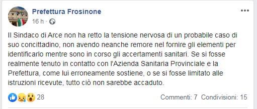 """Coronavirus, Prefettura di Frosinone """"bacchetta"""" il sindaco di Arce"""