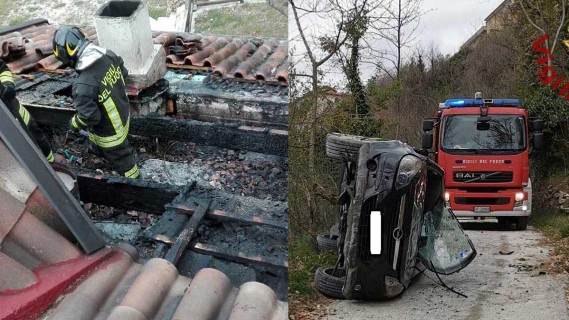 Rocchetta al Volturno – Vigili del Fuoco intervengono per incendio di un tetto e soccorrono auto ribaltata – LE FOTO