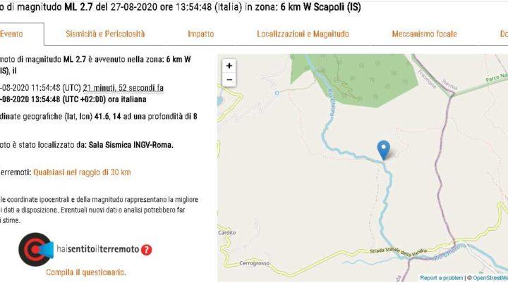Terremoto di magnitudo 2.7 a Scapoli in provincia di Isernia