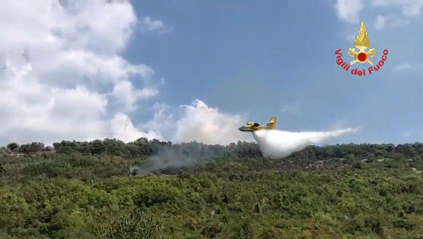 Quasi spento l'incendio boschivo in località Antignana a Sezze scoppiato ieri pomeriggio