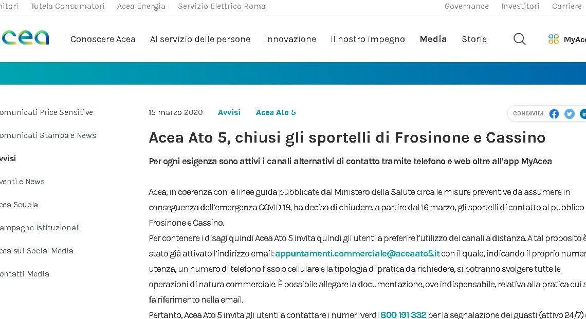 Acea Ato5, chiusura temporanea degli sportelli commerciali di Frosinone e Cassino