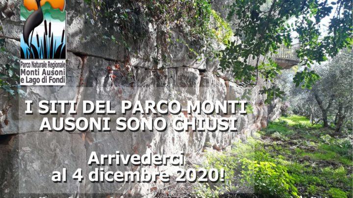 Covid-19: il Parco Monti Ausoni chiude fino al 3 dicembre 2020 i siti gestiti dall'Ente