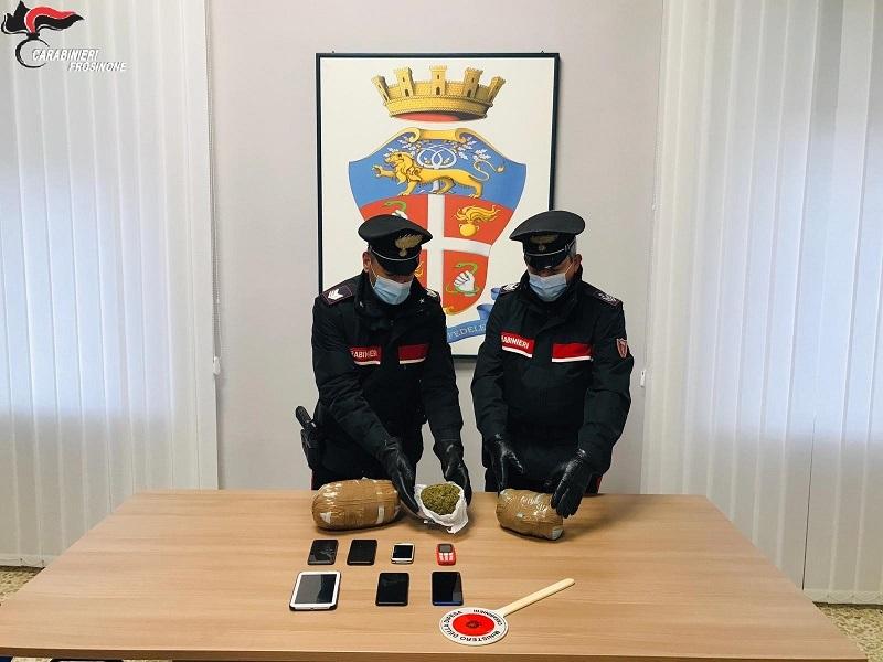 Fermati con 2kg di marijuana nell'auto, 4 arresti a San Vittore del Lazio