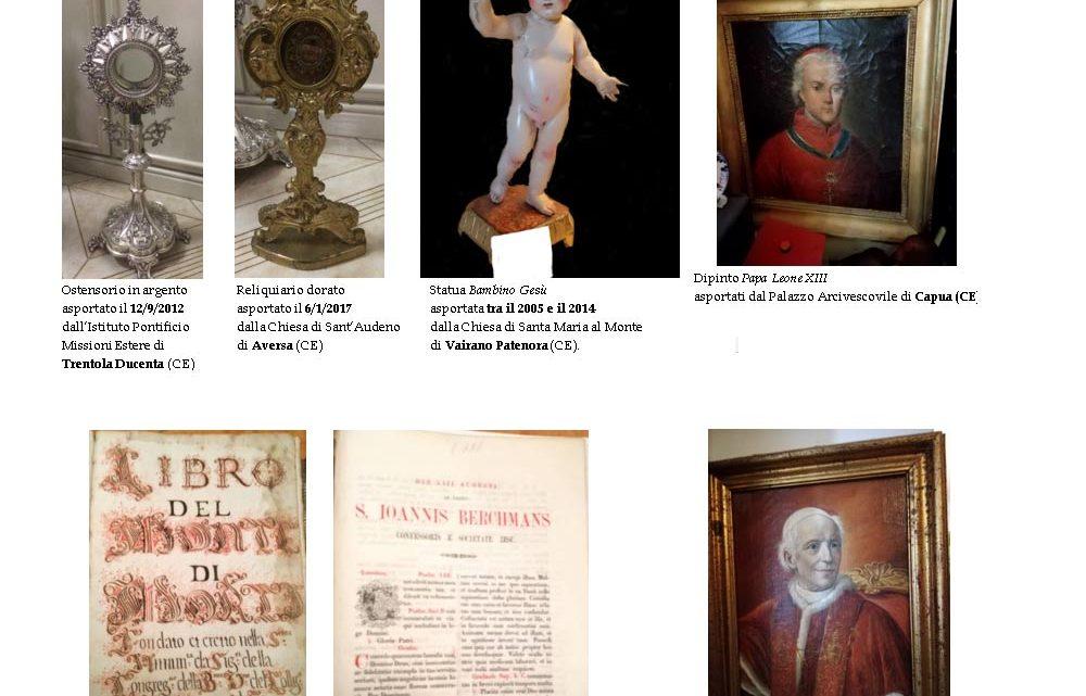 Tornano nelle chiese della Diocesi di Aversa numerosi beni ecclesiastici trafugati nel corso degli anni