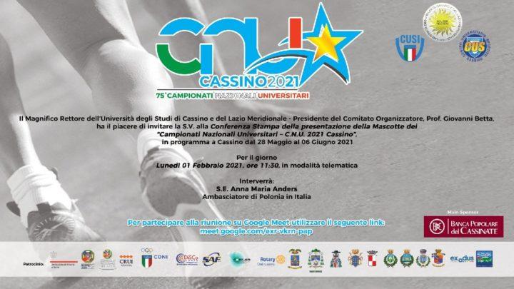 Cassino ospita per la terza volta i Campionati Nazionali Universitari, lunedì la presentazione con Zingaretti e Anna Maria Anders