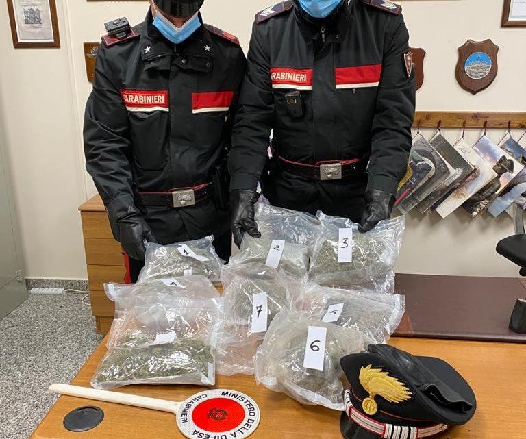 Scoperta dai carabinieri con quasi due chili di marijuana, 24enne arrestata a Piedimonte San Germano