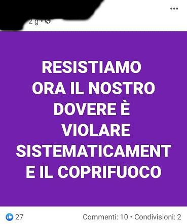 Post su Facebook per incitare a violare coprifuoco, denunciato 45enne